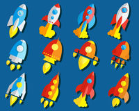 Ensemble de Rocket Or Spaceship Flat Icon Photographie stock libre de droits