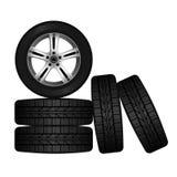Ensemble de roue et de pneu pour la conception de transport ou de service Disque brillant de voiture Images libres de droits