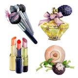 Ensemble de rouge à lèvres d'aquarelle, brosse de maquillage, parfum, savon de bain fait main illustration stock