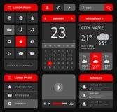 Ensemble de rouge et de bleu d'éléments mobiles d'interface Images libres de droits