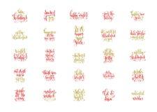 Ensemble de 25 rouges et de main d'or marquant avec des lettres le Joyeux Noël Photos stock