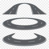 Ensemble de route goudronnée incurvée dans la perspective Icônes de route Photos stock