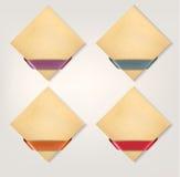 Ensemble de rétros bannières de papier de carton avec le ri de couleur Images stock