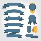 Ensemble de ruban bleu, conception plate Photographie stock