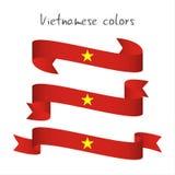 Ensemble de ruban coloré moderne du vecteur trois avec les couleurs vietnamiennes Photo stock