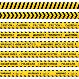 Ensemble de rubans d'avertissement jaunes illustration de vecteur