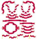 Ensemble de rubans rouges Images libres de droits