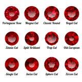 Ensemble de rubis rouges réalistes avec les coupes rondes Image stock