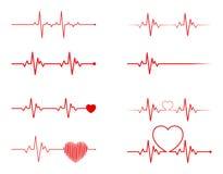 Ensemble de rythme de coeur, électrocardiogramme, ECG - signal d'électrocardiogramme, coeur Bea illustration libre de droits