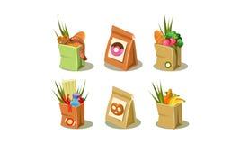 Ensemble de sac de papier avec des épiceries Emballage avec des butées toriques et des bretzels Icônes plates colorées de vecteur illustration stock