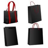 Ensemble de sacs à provisions noirs. Images stock