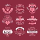 Ensemble de Saint Valentin d'éléments de typographie avec illustration de vecteur