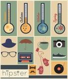 Ensemble de saison de conception de hippie illustration stock