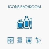 Ensemble de salle de bains d'icônes photo libre de droits