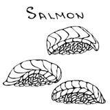 Ensemble de Salmon Sushi pour le menu de fruits de mer Illustration de vecteur d'isolement sur une main blanche de vintage de ban Image libre de droits
