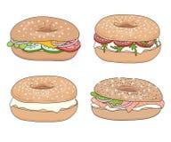Ensemble de 4 sandwichs frais à bagel avec différents remplissages Fromage fondu, saumon fumé, légumes Illustration de vecteur illustration stock