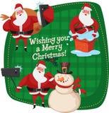 Ensemble de Santa Clauses prêt pour Noël Bonhomme de neige Amis de Selfies Bon esprit de nouvelle année illustration de vecteur