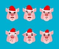 Ensemble de Santa Pig Emoji Collection de visage Le bien et le mal Gai illustration stock