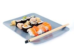 Ensemble de sashimi de plaque Images libres de droits