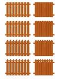 Ensemble de sections en bois de barrières de différentes formes Photos stock