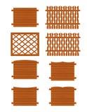 Ensemble de sections en bois de barrières de différentes formes Images libres de droits