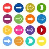 Ensemble de seize flèches dans cercles colorés illustration libre de droits