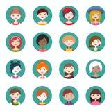 Ensemble de seize icônes rondes de profil d'utilisateur de femmes Illustration plate de vecteur de style Image libre de droits