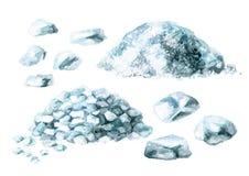 Ensemble de sel de mer Illustration tirée par la main d'aquarelle, d'isolement sur le fond blanc illustration libre de droits