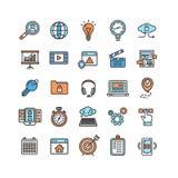 Ensemble de Seo Color Thin Line Icon de moteur de recherche Vecteur Image libre de droits