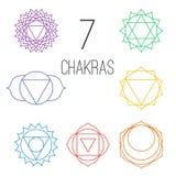 Ensemble de sept chakras colorés Illustration linéaire de caractère d'hindouisme et de bouddhisme Photo libre de droits