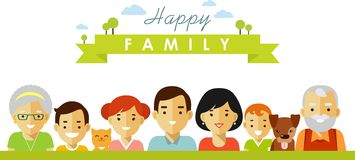Ensemble de sept membres de la famille heureux dans le style plat Image libre de droits
