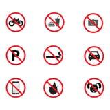 Ensemble de signe d'interdiction Photographie stock