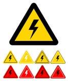 Ensemble de signe de symbole à haute tension de l'électricité de danger sur le blanc, Images stock