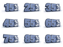 Ensemble de signes de prix discount, dans 9 variations d'isolement Photo stock