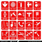 Ensemble de signes de sécurité Icônes de lutte contre l'incendie Photographie stock
