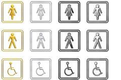 Ensemble de signes de toilette images stock
