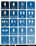 Ensemble de signes de toilette Labels de toilette Photo stock