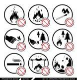 Ensemble de signes ouverts d'interdiction du feu Images libres de droits
