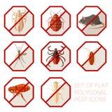 Ensemble de signes polygonaux plats des icônes de parasite illustration de vecteur