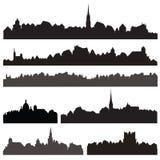 Ensemble de silhouett de ville Paysage urbain européen Ensemble d'horizon Bâtiments s Images stock