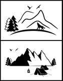 Ensemble de silhouette abstraite de montagnes illustration libre de droits