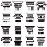 Ensemble de silhouette de capitaux de colonne de Roma du grec ancien de vecteur illustration stock