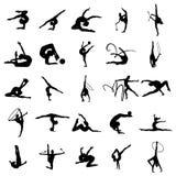 Ensemble de silhouette d'athlète de gymnaste Photographie stock libre de droits