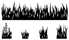 Ensemble de silhouette d'herbe Photos libres de droits
