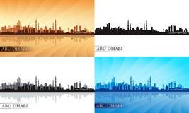 Ensemble de silhouette d'horizon de ville d'Abu Dhabi Photographie stock libre de droits