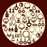 Ensemble de silhouette d'icônes de bijoux et de parfum Photographie stock