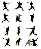 Ensemble de silhouette de base-ball Images stock