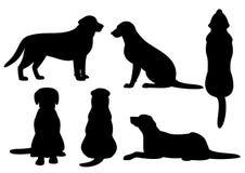 Ensemble de silhouette de chien Images libres de droits