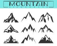 Ensemble de silhouette de montagne illustration stock
