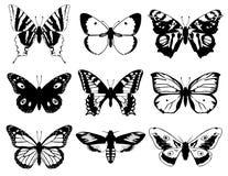 Ensemble de silhouette de papillons Images libres de droits